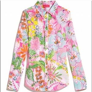Lilly Pulitzer Pink Floral Button Up Shirt